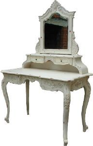 French Antique White Dressing Table + Mirror Mahogany *