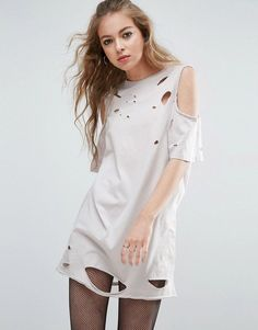 a0c852dae51 Asos Cold Shoulder Nibbled T-Shirt Dress Asos T Shirts