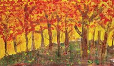 Afrah Khan, a sixth-grader at Marshall Middle School in Janesville, created this tempera paint fall image.