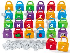 Children match the lowercase letters on keys to the uppercase letters and pictures on our Alphabet Learning Locks—and unlock alphabet skills from A to Z!