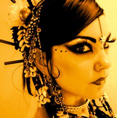 Tribal fusion headdress and make up. Really like the dots they are fiddly and can easily look messy very difficult!