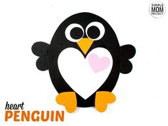 Simple Valentine's Day Penguin Art Project for Kids - Simple Mom Project Rainy Day Crafts, Winter Crafts For Kids, Kids Crafts, Projects For Kids, Art Projects, Penguin Coloring Pages, Preschool Valentine Crafts, Construction Paper Crafts, Mickey Mouse Art