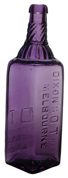 Dixon's O.T. Melbourne. Dark sun-coloured amethyst cordial bottle. (Top has been ground down on the example pictures). c1910s