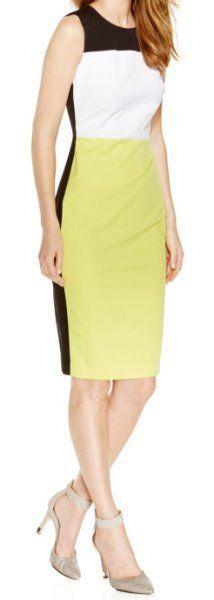Calvin Klein Dress Sz 8 Black White Citron Multi Sleeveless Business Dress #CalvinKlein #sheath #business