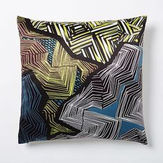 "(A few pillows on the dining chairs for those who'd want them...) Silk Abstract Web Pillow Cover - Blue and Teal #westelm  ""Salant Dining Theme One"""