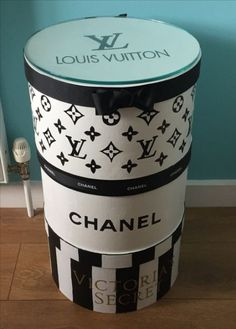Chanel,Vuitton,Victorias Secret,glass on the top to make a bedside table. Chanel Room, Chanel Hat, Chanel Decor, Glam Room, Mason Jar Candles, Hat Boxes, Custom Boxes, Beauty Room, Vintage Chanel