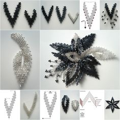 This pendant of classic black and white is in a very architectural art decoration pattern. The whites of it have tiny variation, using silver, the contrast of the color makes it cool as pendant, or brooch, very attractive for business or night party. Materials: Beads (black and silver) Thread Share