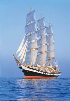 "Russian Navy - ""PALLADA"" (354' Three Masted Frigate) Built 1989 - A Russian Navy Cadet Sail Training Ship – Is Considered the World's Fastest Sailing Ship. It Holds the World Speed Record of 18.7 knots in the Sail Training International largest and most prestigious Class A Series."