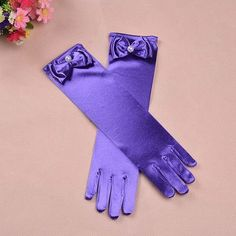 High quality Long princess gloves for girls elsa gloves girls wedding dress glove with bow costume accessories satin gloves