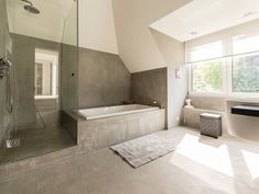 stone bathroom design ideas with large glass framed windows and supplemented by blinds to protect the privacy Home Design, Küchen Design, Bath Design, Design Ideas, Pirate Bathroom Decor, Bathroom Rules, Stone Bathroom, Small Bathroom, Family Bathroom