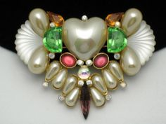 WENDY GELL Lucite Rhinestone Glass Pearl Heart Brooch & Pendant  50% off tomorrow in the Ruby Lane Red Tag Sale