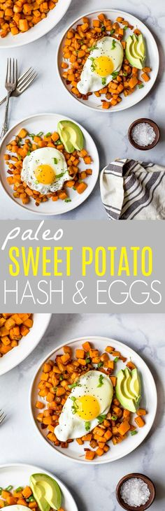 30 Minute Paleo Sweet Potato Hash & Eggs with bacon and avocado. A quick easy breakfast hash that's under 350 calories and so delicious you'll want to devour it! via @jheats