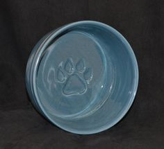 Medium Pottery Dog Bowl  Alfred Blue Glaze by ThePawteryShop