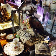 Glass Lantern with Crown top Metal Bird  Riverside Calif Mission Galleria 2-2015