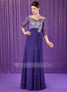 A-Line/Princess Off-the-Shoulder Floor-Length Chiffon Tulle Mother of the Bride Dress With Ruffle Lace Beading (008018708)