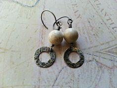 Riverstone drop earrings sterling silver by MaisyGraceDesigns