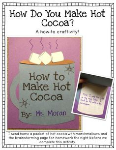 How to make hot cocoa craft  tons of other winter writing prompts and activities!