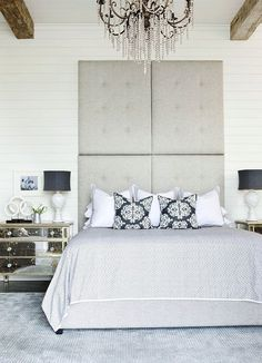 Velvet Tufted Headboard - Design photos, ideas and inspiration. Amazing gallery of interior design and decorating ideas of Velvet Tufted Headboard in bedrooms, girl's rooms by elite interior designers. Gray Bedroom, Home Bedroom, Bedroom Decor, Design Bedroom, Diva Bedroom, Gray Rooms, Bedroom Nook, Bedroom Setup, Bedroom Neutral