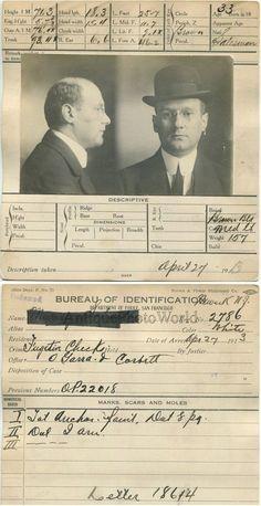 5b9418bb8f6 Man in glasses bowl hat Murray Schwabe antique police mug shot photo CA
