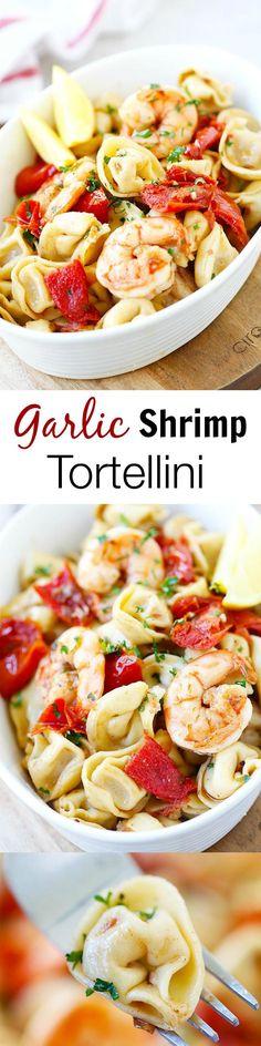 Garlic Shrimp Tortellini – AMAZING tortellini with garlic shrimp. Super easy recipe | rasamalaysia.com