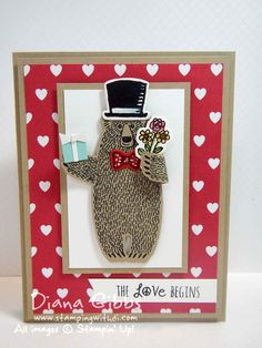 Bear Hugs Diana Gibbs Tiffany Stampin' Up! Bday Cards, Animal Cards, Heart Cards, Ribbon Crafts, Love Cards, Stamping Up, Anniversary Cards, Valentines, Valentine Ideas