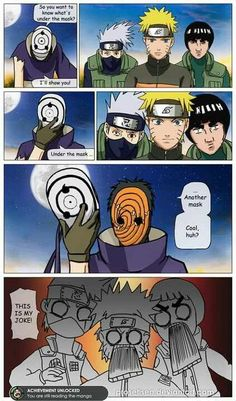 OBITO TOOK KAKASHI'S JOKE!!!! And look at Kakashi's face! His mask looks like a super frown!!! XD