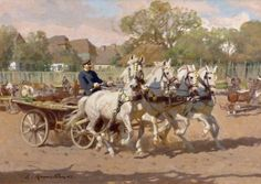 "Zygmunt ROZWADOWSKI (1870-1950), - ""Team of four horses"