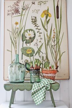 VIBEKE DESIGN - old botanical print with potted bulbs and scallop-edge stool