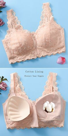 US 16 Zip Front Cotton Lining Gather Wireless Soft Lace Comfort Embroidery Bra By Newchic Jolie Lingerie, Bra Lingerie, Push Up Bikini, New Chic Bras, Ludwig Therese, Desi Wedding Dresses, Lingerie Patterns, Pretty Bras, Bra Pattern