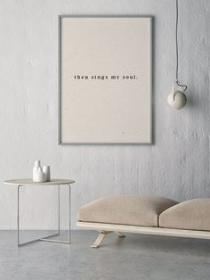 """""""Then Sings My Soul"""" Print - Unique and modern art incorporating the look of soft parcel paper and typography printed on a matte textured white paper. Created by Randi King Design. Pretty Things, Then Sings My Soul, King Design, Modern Art Prints, Minimalist Decor, Interiores Design, Interior Design Living Room, Interior Inspiration, Designer"""