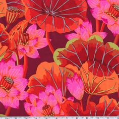 Kaffe Fassett Lake Blossoms Red from @fabricdotcom Designed by Kaffe Fassett for Free Spirit, this cotton print fabric features oversized floral blooms and is perfect for quilting, apparel and home decor accents. Colors include wine, paprika, tomato red, orange, fuchsia, coral, sage green and slate.