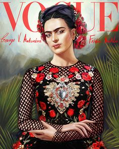 Frida Kahlo Vogue cover by George V. Antoniou Frida Kahlo Vogue cover by George V. Vogue Covers, Vogue Magazine Covers, Diego Rivera, Frida E Diego, Frida Art, Printable Poster, Frida Kahlo Portraits, Kahlo Paintings, Pop Art