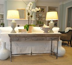 Sofa table with lamps - always a lovely addition to a Sitting room if there is space