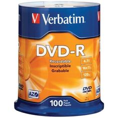 Verbatim Branded 16X DVDR Media 100 Pack in Cake Box 95102 >>> Want additional info? Click on the image.