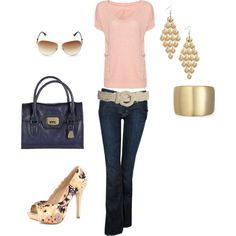Navy & Peachy pink, created by hinaea on Polyvore