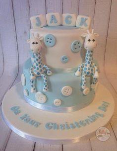 Christening Cupcakes Boy, Christening Cake Designs, Baptism Cakes, Boy Christening, Baby Boy Cakes, Baby Shower Cakes, Garden Party Cakes, Button Cake, Giraffe Cakes