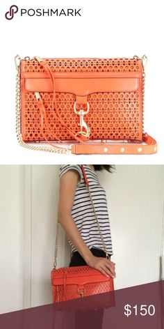 Rebecca minkoff lasercut orange M.A.C. handbag Gently used and in excellent condition Rebecca Minkoff Bags Crossbody Bags