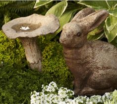 bunny for outside - and mushroom with concave top makes a birdbath.