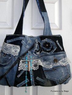 Upcycled Denim Patchwork Tasche von PursenicketyBags auf Etsy