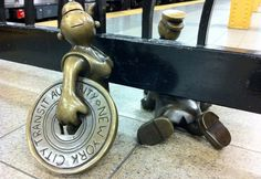 Over 100 individual miniature bronze sculptures make up Tom Otterness' Life Underground series, a 2001 public artwork series created for the 14th Street–Eighth Avenue New York City Subway station. The artist was inspired by political cartoonist Thomas Nast, and the project took 10 years. Photo: Micke Kazarnowicz
