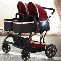 High Baby Prams Twins,Deluxe Baby Stroller for Twins with Good Shock Absorbers and High Chair,Double Stroller Baby Travel System