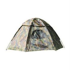 "Texsport Hexagon Dome Tent in Camouflage - Sleeps up to three people - Extra rugged taffeta walls and rain fly are polyurethane coated - Rip-stop polyethylene floor - Three pole, pin and ring frame system with shock-corded fiberglass poles - Arch style front door with ""no-see-um"" mesh window and zippered storm flap - ""No-see-um"" mesh roof panels for venilation - Complete with stakes and carry/storage bag - Dimensions: 48"" H x 84""-8"" W x 72""-8"" D - Weight: 5.5 lbs"