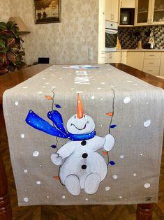 me ~ Snowman Hand-painted Table Runner Christmas Snowman Christmas Decorations, Snowman Crafts, Christmas Snowman, Christmas Wreaths, Christmas Ornaments, Etsy Christmas, Christmas Sewing, Christmas Fashion, Deco Table Noel