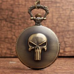 Romantic The Punisher Logo Bronze Finish Pendant Pocket Watch Evident Effect Watches, Parts & Accessories