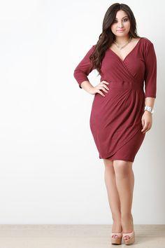 Deep V Surplice Half Sleeve Midi Dress