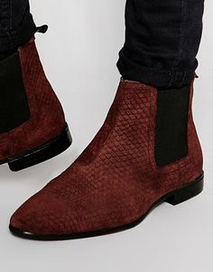 4dce7950464491 ASOS Chelsea Boots in Burgundy Suede With Snakeskin Effect Brown Suede  Chelsea Boots