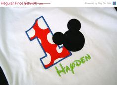 June Bug Sale Personalized Mickey Mouse Birthday shirt or onesie. $20.70, via Etsy.