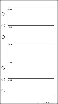 This daily planner page goes on the right-hand side of your personal sized datebook. It has two days per set of facing pages and is oriented vertically. Free to download and print