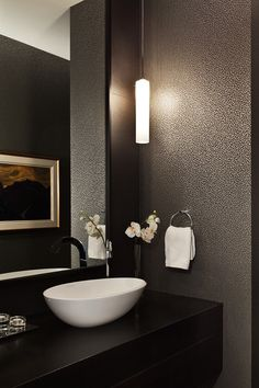Edenbridge Humber Valley Home Powder Room Bath Contemporary Transitional by Jennifer Worts Design