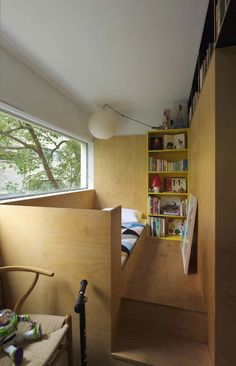 Potts Point Apartment by Anthony Gill Architects bedroom nook raised a few steps so a second bed can be hidden below; Potts Point Apartment by Anthony Gill Architects Tiny Spaces, Small Apartments, Studio Apartments, Built In Beds For Kids, Rooms Decoration, Plywood Interior, Mini Loft, Four Rooms, Shared Rooms